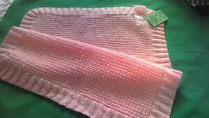 Hand-knitted  Baby's pink pram cover size 20 x 24 ins