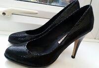 Ladies Buffalo LONDON black leather sparkly platform court shoes UK 4 EU 37 VGC
