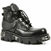 Newrock New Rock 110 Metallic Black Gothic Boot Unisex Stud Leather Lace Boots