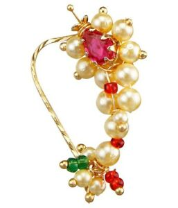 Nose Pin Nath Nose Ring Pierced Maharashtrian Nose Pin Pearl Indian Jewellery Uk