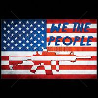 American Flag We The People AR-15 Rifle USA Patriotic 2nd Amendment T-Shirt Tee
