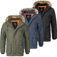 Crosshatch Mens Parka Fur Hood Parka Thick Quilted Padded Winter Coat Jacket