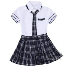 Women Girl School Girl Uniform Costume Fancy Dress Cosplay Shirt Plaid Skirt M