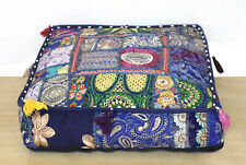 Indian Rajasthani Handmade Patchwork Vintage saree work Pouf cover 18* Inches