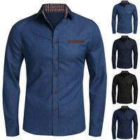 Men's Casual Button Trun-down Collar Denim Long Sleeve Shirts Lapel Tops Blouse
