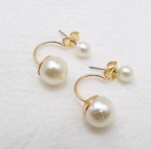 925 Sterling Silver Cultured Freshwater Pearl Punk Jewel Stud Earrings Stud Gift