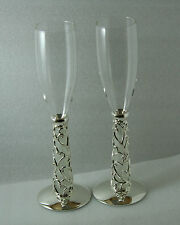Wedding Champagne Crystal Glasses Toasting Flutes-Silver Vine Hearts Frosted