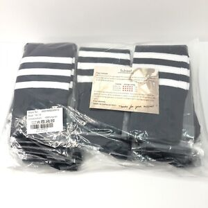 3street Pack of 10 Triple Striped Socks Navy Blue / White Striped Size 10-13