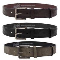 Mens Soulstar Brush Chrome Metal Buckle Worn Leather Belt Size