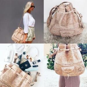 Moroccan Leather Boho Shoulder Bag Handbag Purse Carved Tooled Strap Design