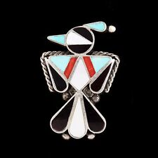 Vintage Native Zuni Sterling Silver Pawn Thunderbird Onyx Inlay Brooch Pendant!