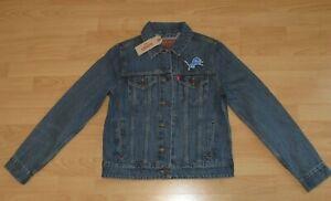 Detroit Lions NFL Levi's Denim Jean Trucker Jacket Women's Small - Retail $108