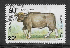 POSTES LAO - INDIA ISSUE 1990 USED COMMEMORATIVE STAMP, ENDANGERED ANIMALS GAUR