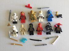 LEGO NINJAGO MINIFIG LOT of 10 MINIFIGS 4 Ninjas Weapons Lot k500b