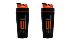 2 Pack TSF 25oz Stainless Steel Protein Powder Shaker Mixer Blender Bottle Cup
