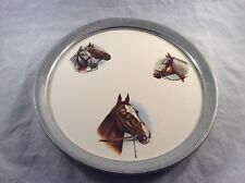 Vintage REVERE PEWTER Serving Tray Horses on Porcelain