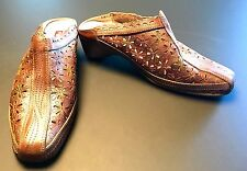 Pikolinos Papiro Brown Iridescent Leather Perforated Floral Heels Mules Size 35