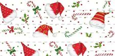 "1"" 2 Yards Christmas Grosgrain Ribbon Candy Cane Santa Hair Bow Gift Wrap Cards"