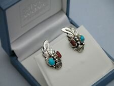 SUPERB ROBERT BECENTI NAVAJO SOLID STERLING SILVER TURQUOISE + CORAL EARRINGS