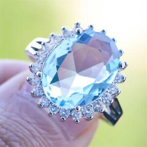 Fashion 925 Silver Rings Women Aquamarine For Bride Wedding Jewelry Gifts # 8