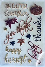 Thanksgiving Fall Autumn Thankful Family Phrase Glitter Scrapbook Stickers