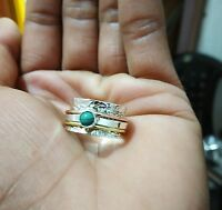 925 Sterling Silver Band & Copper , Brass Spinner Ring Turquoise Stone All Size