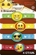 Emoji Rubber Bracelets Party Bag Fillers, Pack of 4