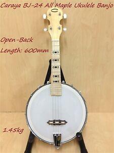 Caraya BJ-24 All-Maple Concert Ukulele Size 4-String Banjo,Open-Back,Milky Top