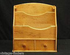 Vtg. Wooden Art File Box w Drawer Cabinet Desk Storage Office Kitchen Home Decor