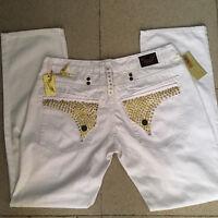 Mens Robin Jeans Gold Studs Crystal Denim Pants Men's Jean White size 30-42