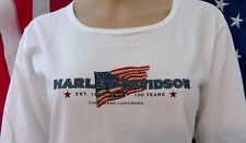 "Harley Davidson Ls Shirt White American Flag Usa Est 1903 Chest 31"" Womens S"