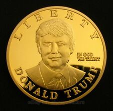 America 45th President Donald Trump Statue of Liberty 24K Gold Plated Coin Token