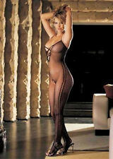 Stretch Fishnet Body Stocking Criss-Cross Front Mock Bending Lace Sides Black