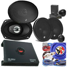"New listing 2x Infinity 6"" x 9 "" 2x 6.5"" Component Speaker + Gravity 4 Ch 1200W Amp + Kit"