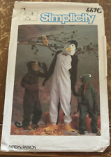 Simplicity Costume Pattern 6670 Halloween Monkey Penguin Frog Child 2 - 4 Cut