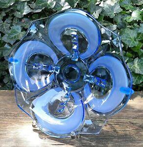 Old Bowl Dish Fruit Bowl Pressed Glass Blue Art Deco Geometric Pattern