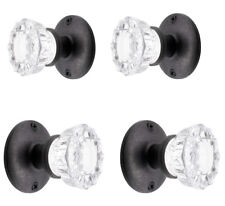 Four Glass Door Knob Sets with Flat Black Finish Hardware-Vintage Reproduction