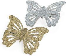 2x Ragazze/Da Donna Glitter per Capelli Clip Slide Clip Pin Oro Argento Glitter Becco Clip