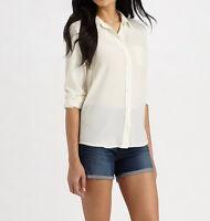 NWT EQUIPMENT Brett Silk Shirt Blouses, Nature White, Large, MSRP $208