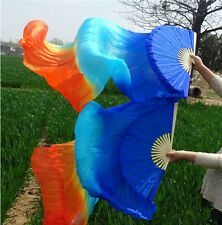 NEW Silk Belly Dance Fan Veil blue+turquoise+orange Colors Left/Right Hand 1.8m