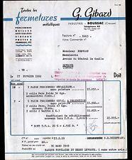 "BOUSSAC (23) CONSTRUCTION de FERMETURES METALLIQUES ""G. GIBARD"" en 1959"