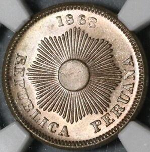 1863 NGC MS 64 Peru 1 Un Centavo Lustrous Coin (21032102D)
