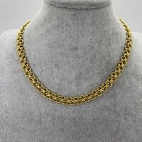 VINTAGE Chunky Double Chain Necklace Gold Tone Collar Length Retro 70s Disco 80
