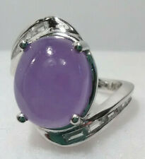 Burmese Purple Jade and Zircon Ring in Platinum over Sterling Silver.  Size 5,