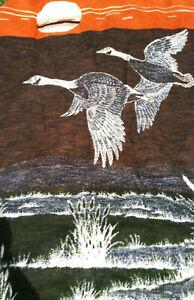 "BIEDERLACK Throw Blanket Canada Geese Sun Pond 72"" x 58"" Reversible VINTAGE USA"