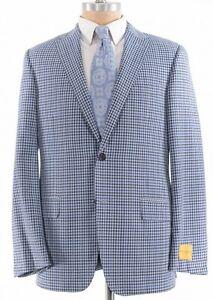 Hickey Freeman NWT Sport Coat Sz 40R Bold Blue Gingham Plaid Wool Beacon $1,295
