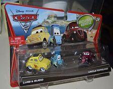 DISNEY PIXAR CARS 2 LUIGI & GUIDO, UNCLE TOPOLINO  3 PACK NEW
