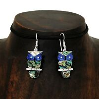 Artisan Abalone Blue Owl Buho Silver Earrings Taxco Mexico