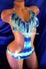 Express Swimsuit Blue Green Tie Dye Medium Women Monokini Halter Fringe Bathing