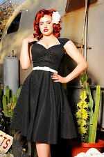 New Retro Vintage Pinup Couture B&W Pin Polka Dot Heidi Swing Dress M